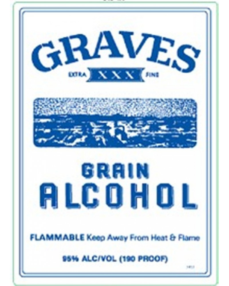 Graves Grain Alcohol 190 Proof Half bottle 375ml -
