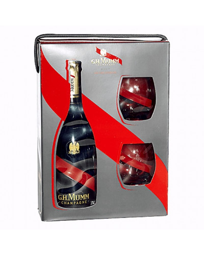 G.H. Mumm Champagne Brut Cordon Rouge Gift Set with 2 Glasses 750ml -